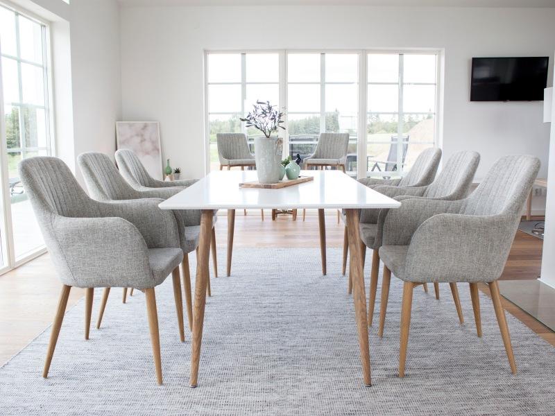 Polar Comfort stolová súprava 1+6 180x90 cm (biela/sivohnedá)
