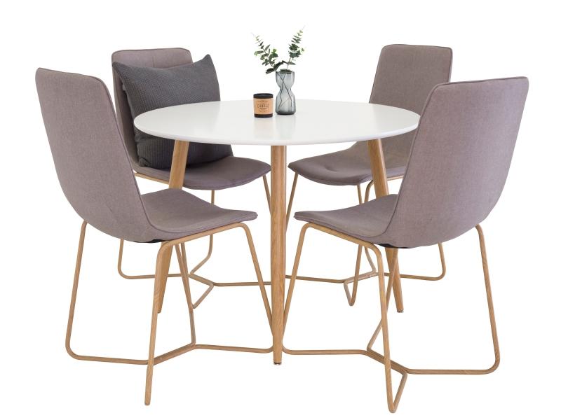 Plaza X-Matstol stolová súprava 1+4 (biela/sivá)