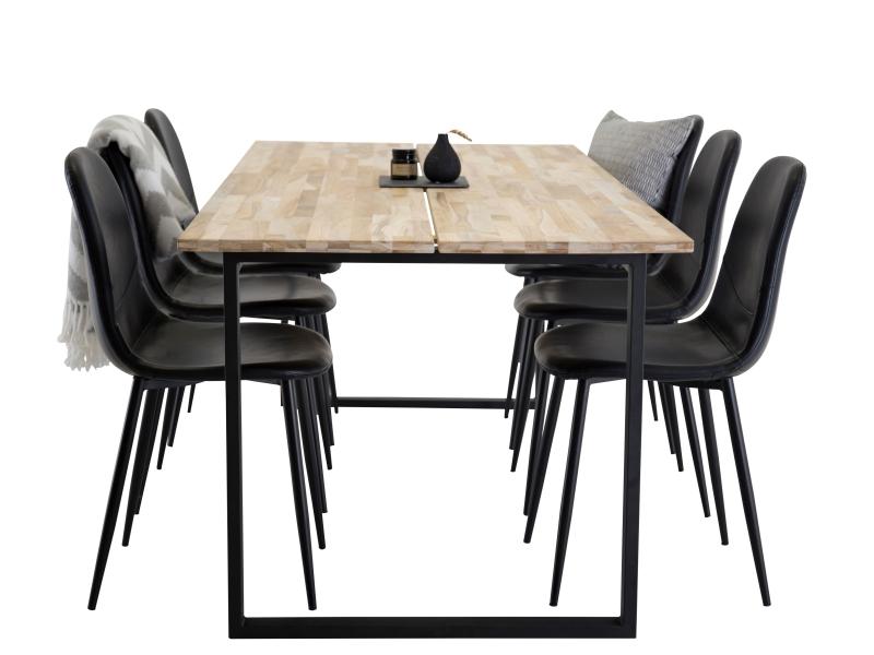 Cirebon Polar stolová súprava 1+6 (čierna)