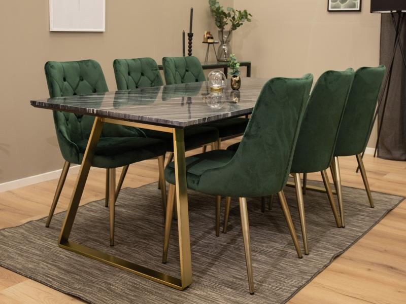 Estelle Velvet Lyx stolová súprava 1+6 (čierna/mosadz/zelená)